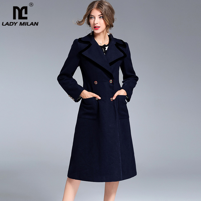 New Arrival 2018 Womens Turn Down Collar Long Sleeves Double Breasted Piping Elegant Fashion Woolen Coats