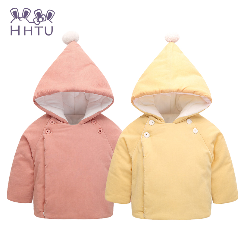 HHTU Big Hat Corduroy Loose Coat Baby Clothes Baby Toddler Girls Fall Winter Horn Button Hooded Pea Coat Outerwear Jacket