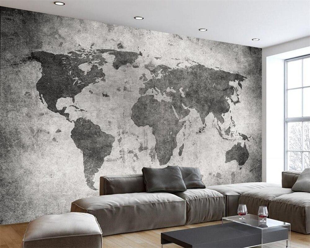 Beibehang Custom Wallpaper European Retro Nostalgia World Map Cement Wall Bar Cafe Shop Restaurant Murals 3d Wallpaper For Walls