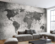 Beibehang Custom wallpaper European retro nostalgia world map Cement Wall Bar Cafe shop restaurant murals 3d for walls