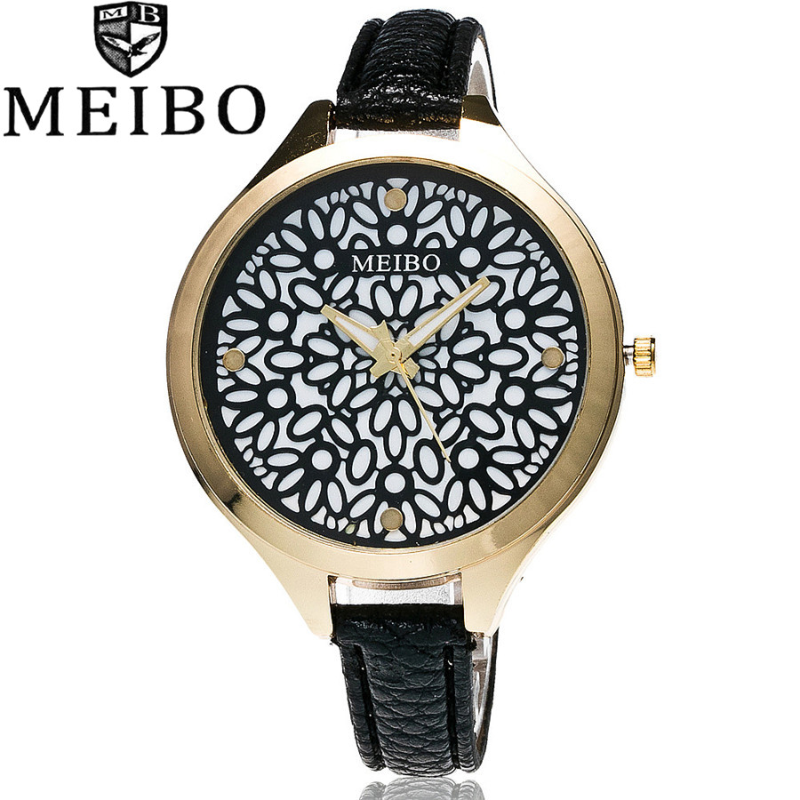 MEIBO Brand Fashion Women Hollow Flower Wristwatch Luxury Leather Strap Quartz Watch Relogio Feminino Drop Shipping Gift 2012 2017 new fashion tai chi cat watch casual leather women wristwatches quartz watch relogio feminino gift drop shipping