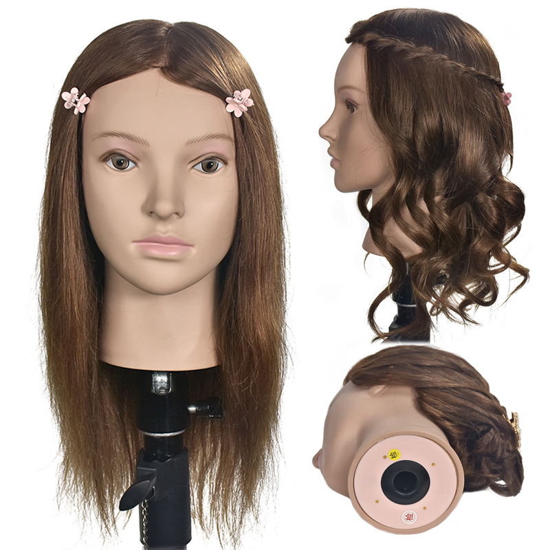 Female 16 Hairdressing Training Head With 100% Real Human Hair Mannequin Head For Hairstyles Practice Manikin  Doll HeadsFemale 16 Hairdressing Training Head With 100% Real Human Hair Mannequin Head For Hairstyles Practice Manikin  Doll Heads