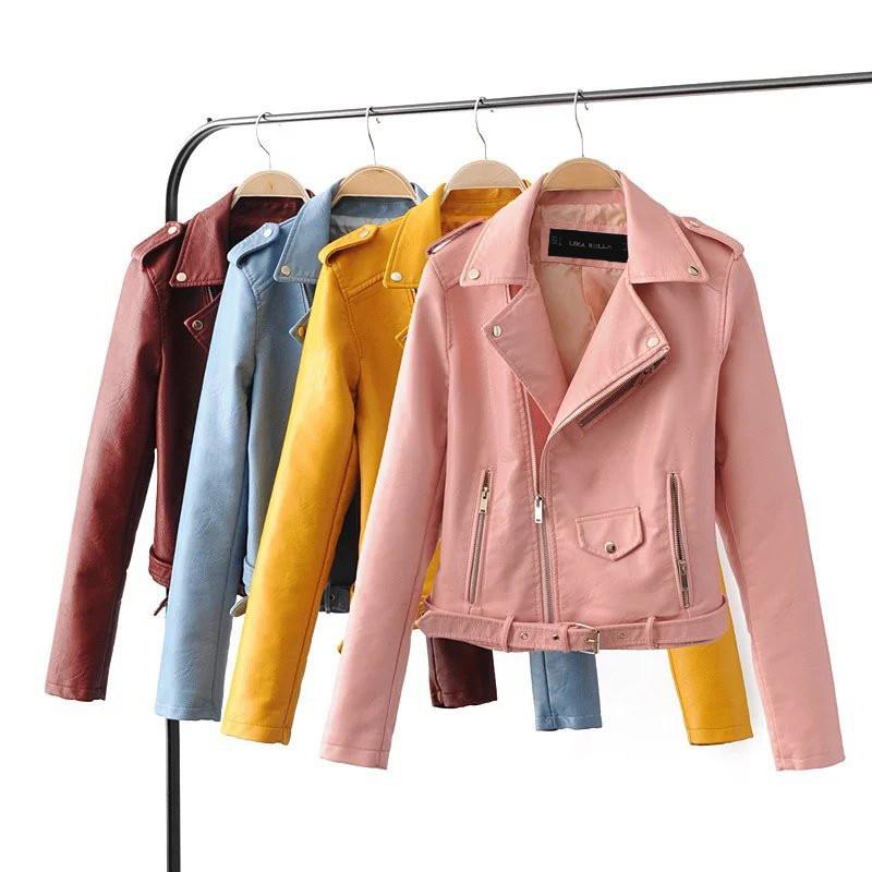 2019 Autumn Winter Casual Faux PU   Leather   Jacket Women Zipper Short Motorcycle Jackets Lady Long Sleeve Short Basic Coat R299