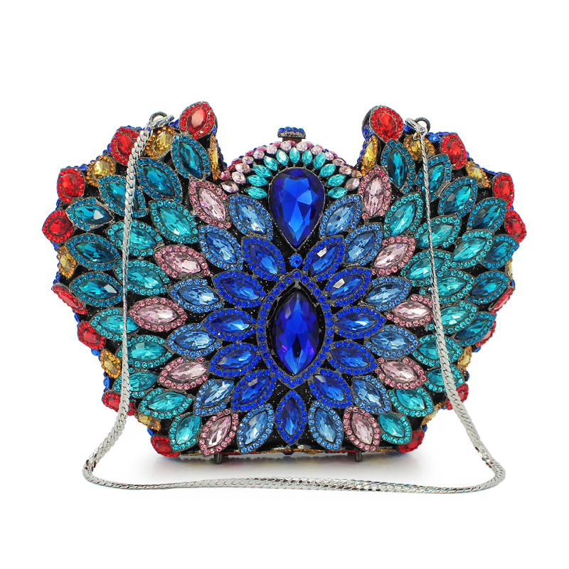 Luxury crystal clutch evening bag flower party purse women wedding bridal handbag ladies bags(88183A-DB) women evening handbag beads clutch bags wedding party bridal purse bag vintage embroidered flower ladies totes bags