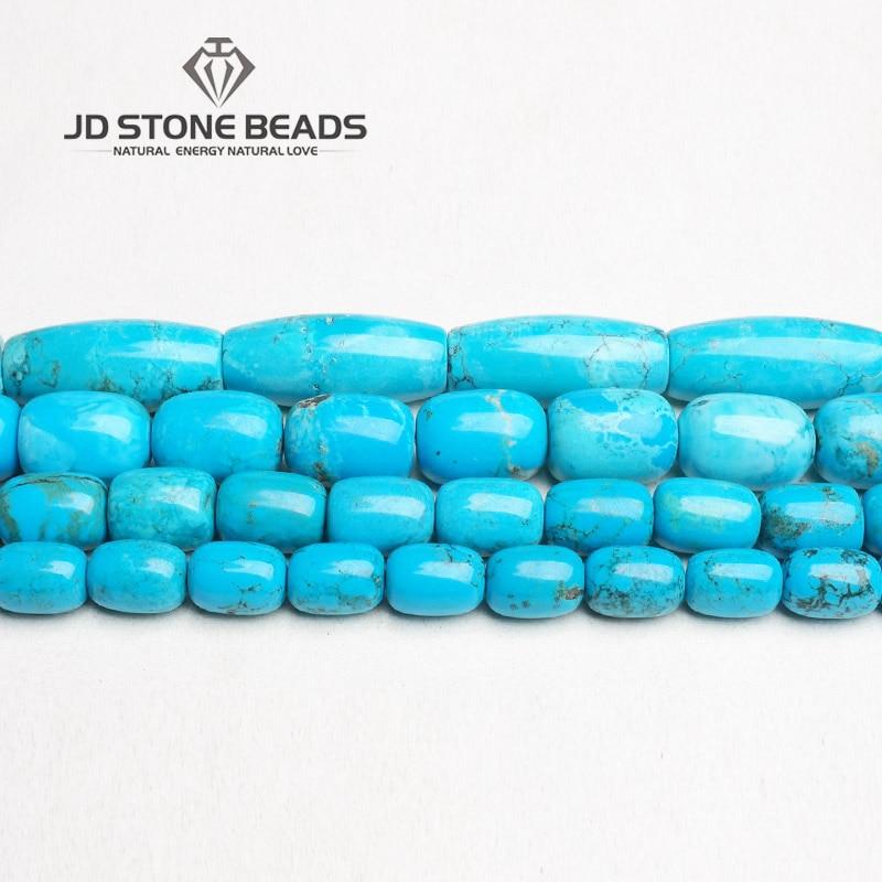 Hingebungsvoll Jd Stein Perlen Freies Verschiffen Blau Türkisen Verkrustete Trommel Barrel Form Perlen Semi-fertigen Handarbeit Armband Perlen Zubehör Perlen