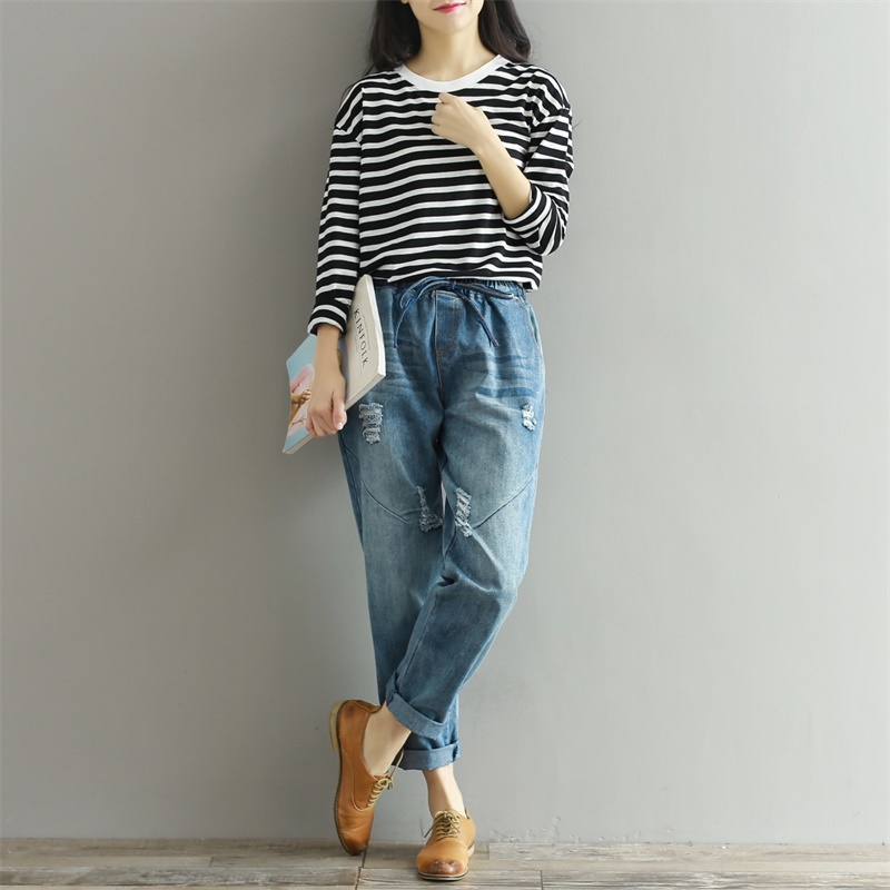 2019 Autumn Boyfriend   Jeans   Harem Pants Women Trousers Casual Plus Size Loose Fit Vintage Denim Pants High Waist   Jeans   3XL