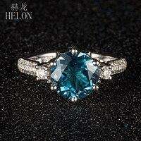 HELON круглый 9 мм 2.6ct Лондонский Голубой топаз Обручальное кольцо твердое 10 к белое золото проложить 0.4ct природные бриллианты свадебное изыск