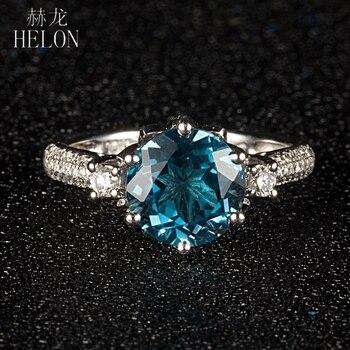 06c6b247a65e HELON Ronda 9mm 2.6ct Topacio Azul Londres Engagemen anillo sólido 10 K oro  blanco Pave 0.4ct diamantes naturales boda anillo exquisito
