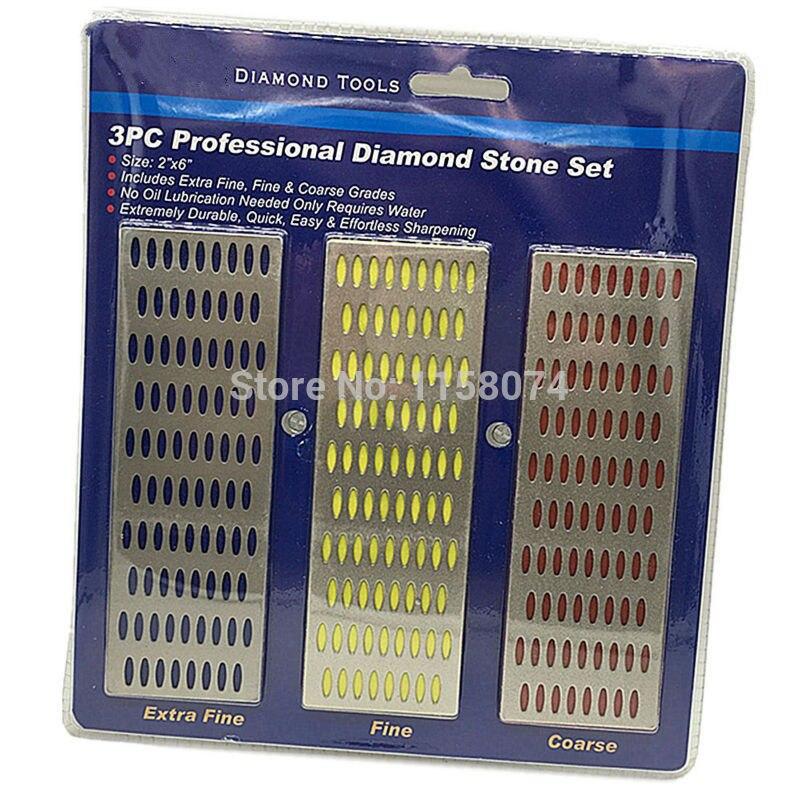 3pc Large Diamond Sharpening Hone Set Stone Whetstone Grind Kitchen Tool