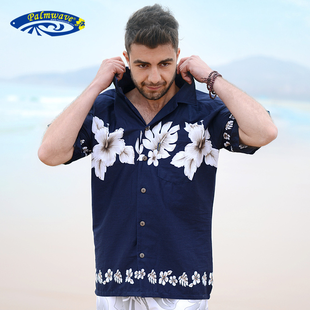 dc3af5e8f47a New 2018 Summer 100% Cotton Hawaii Holiday Beach Shirt Men Casual Short  Sleeve Floral Printed Shirt Plus Size Loose Tops D076