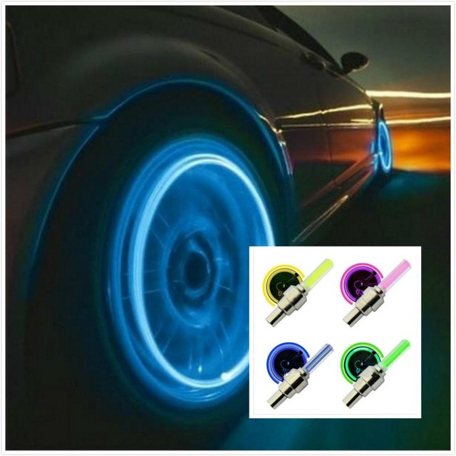 2PCS Car Wheel  LED  Light Mountain Bike Light Tire Valve Cap Decorative Lantern Tire Valve Cap Spoke Neon Lamp