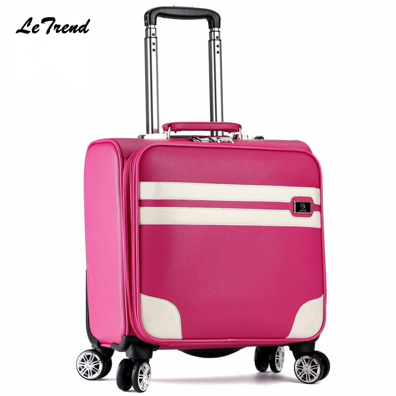 Letrend New Fashion 16 Inch PU Leather Women Rolling Luggage Spinner Trolley Bag Suitcases Travel Bag Boarding Bag Password box галстуки sixth june галстуки