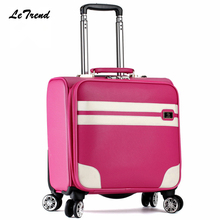 Letrend New Fashion 16 Inch PU Leather Women Rolling Luggage Spinner Trolley Bag Suitcases Travel Bag Boarding Bag Password box