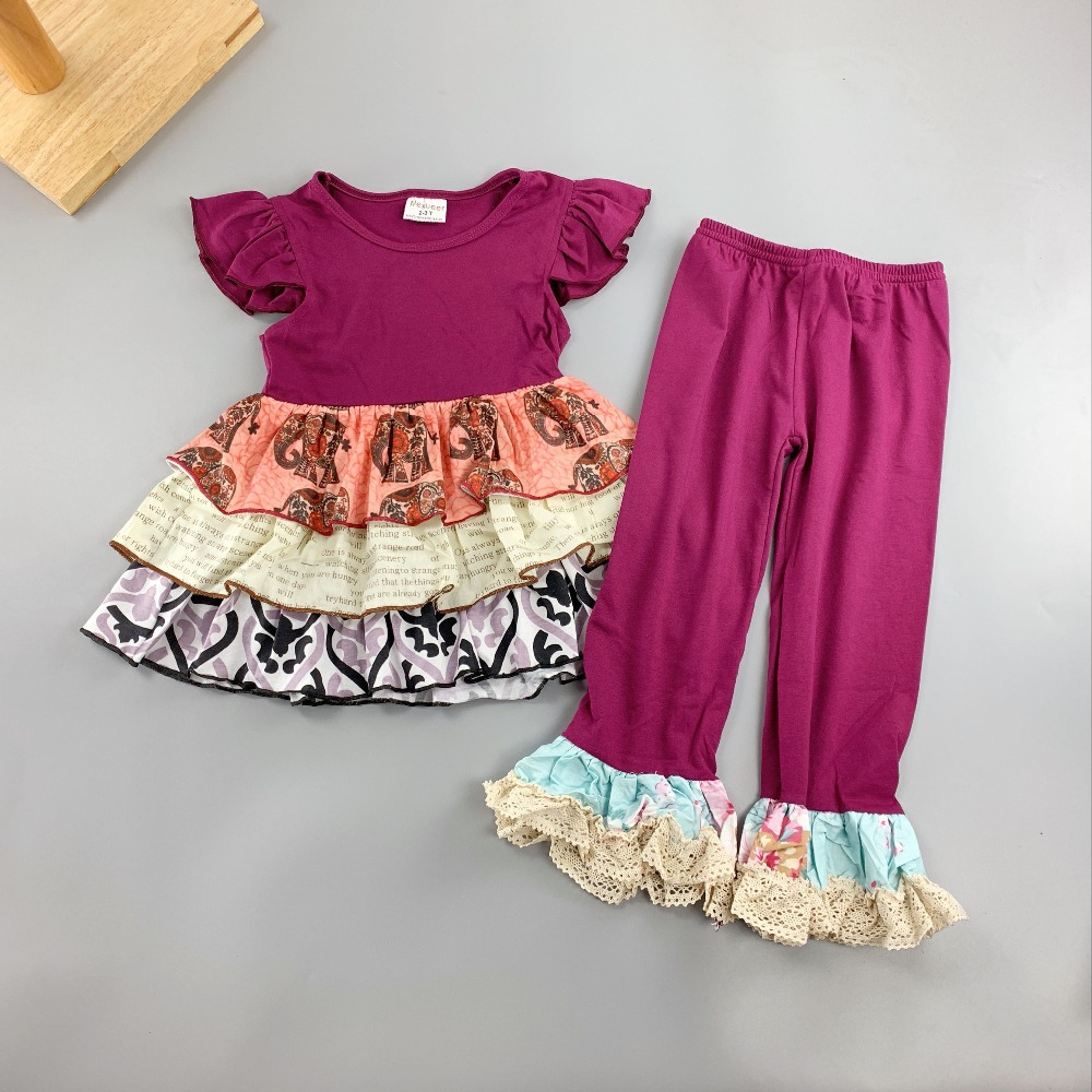 summer time 100% Cotton child women Boutique Garments Ruffled children summer time clothes units Pants Child women units Attire Accent Clothes Units, Low cost Clothes Units, summer time 100%...