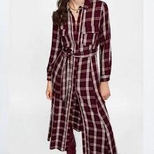 Autumn Fashion Women Vintage Plaid Ankle Length Dress Bow Tie Sashes Pockets Long Sleeve Retro Ladies Casual Dresses Vestidos цена и фото