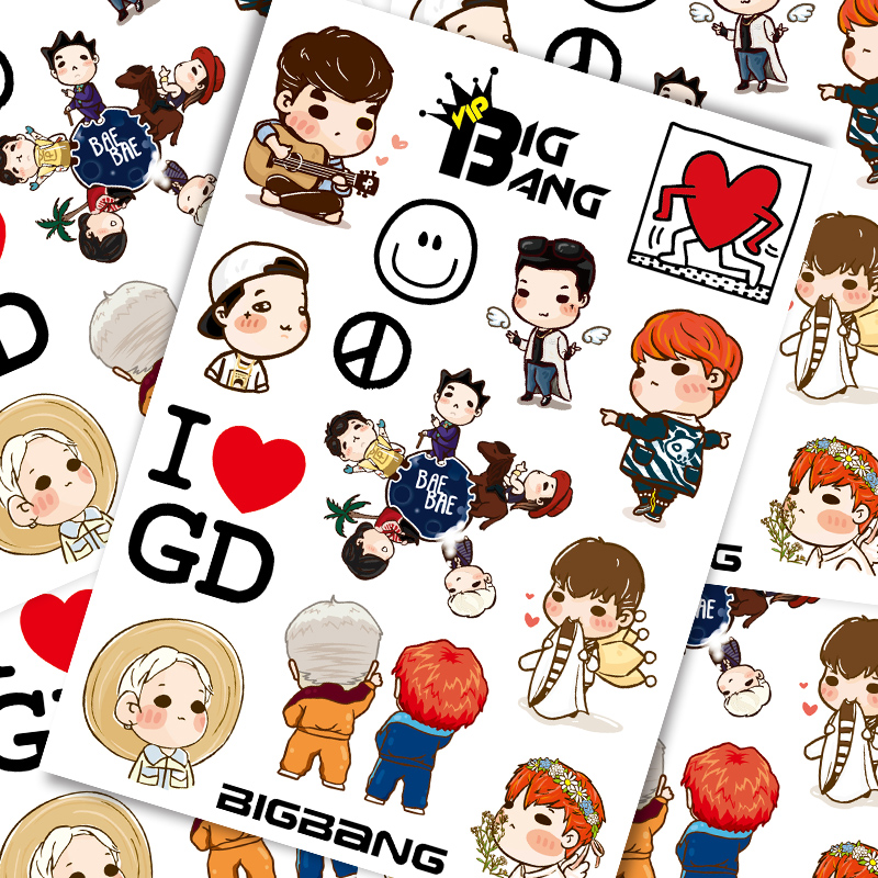 15 Pcs Bigbang Personality Cartoon Trolley Suitcase Suitcase Stickers Notebook Guitar Stickers