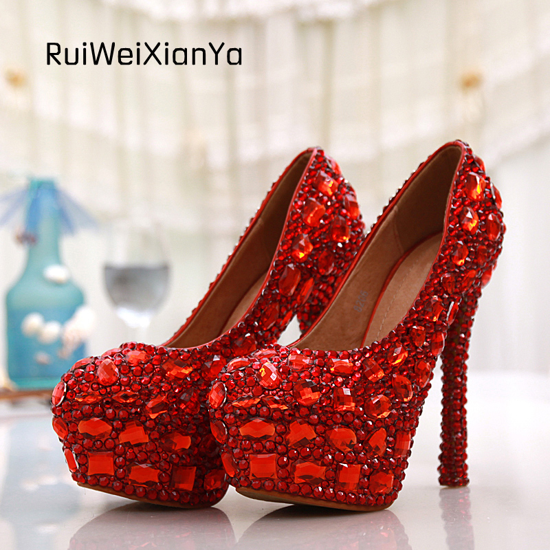 2017 New Fashion Spring Zapatos Mujer Women Pumps High Heels Bridal Red Crystal Diamond Wedding Shoes for Woman Plus Size Hot 2017 new fashion spring ladies pointed toe shoes woman flats crystal diamond silver wedding shoes for bridal plus size hot sale