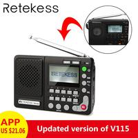 Retekess TR102 Portable Radio FM/AM/SW World Band Receiver MP3 Player REC Recorder With Sleep Timer Black FM Radio Recorder