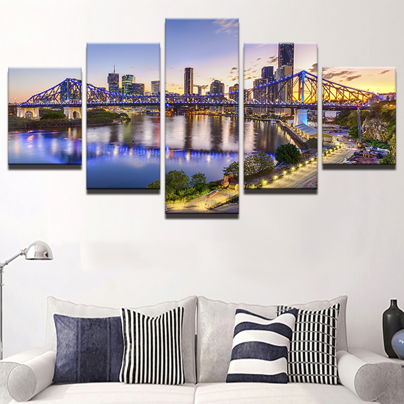 Wall Art Pictures Home Decor Posters Frame 5 Pieces HD