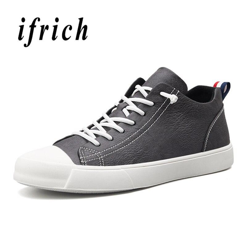 bdc6ca00984 Zapatillas Pu Para Juvenil Casuales Zapatos Negro Cuero Caminar Moda  Invierno Los Hombres Hombres De La gray Pisos ...
