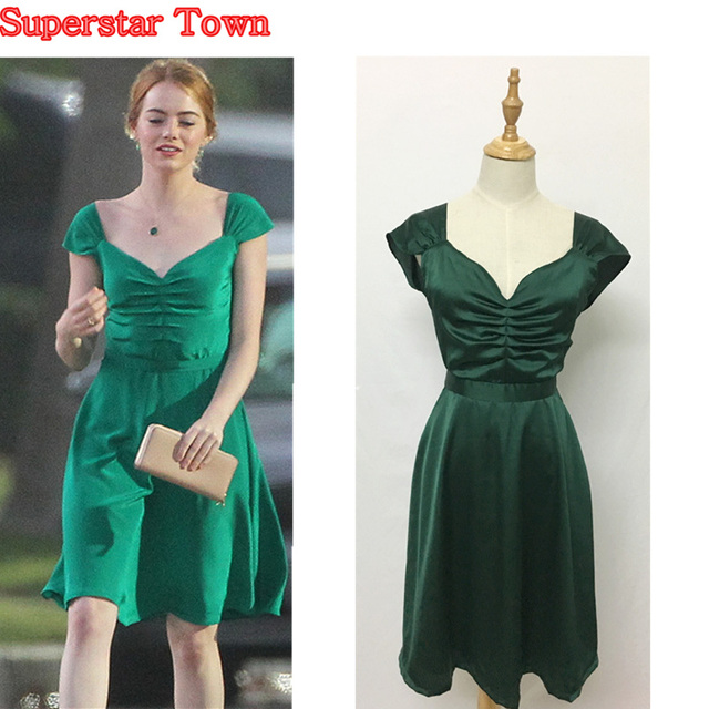 la la land emma stone mia cosplay dress green backless beauty women party dresses v neck summer. Black Bedroom Furniture Sets. Home Design Ideas