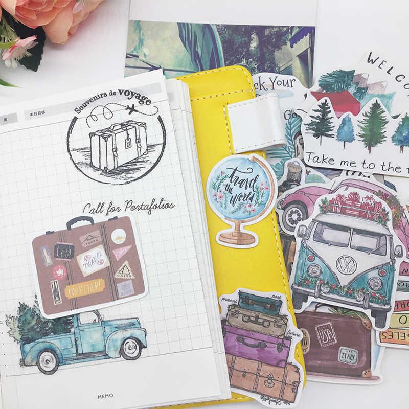 DIY scrapbooking pegatinas pintadas a mano plantas árboles coche bus vida lenta álbum diario feliz planificador etiqueta decoración Paquete de pegatinas