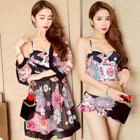2017 Sexy Push Up Women Bikini Set 3 Pieces Floral Print Swimwear High Neck Female Bandage