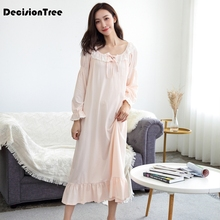 2019 new palace female cotton nightgown long sleeved lace nightdress  elegant french court retro romantic princess 25c667226