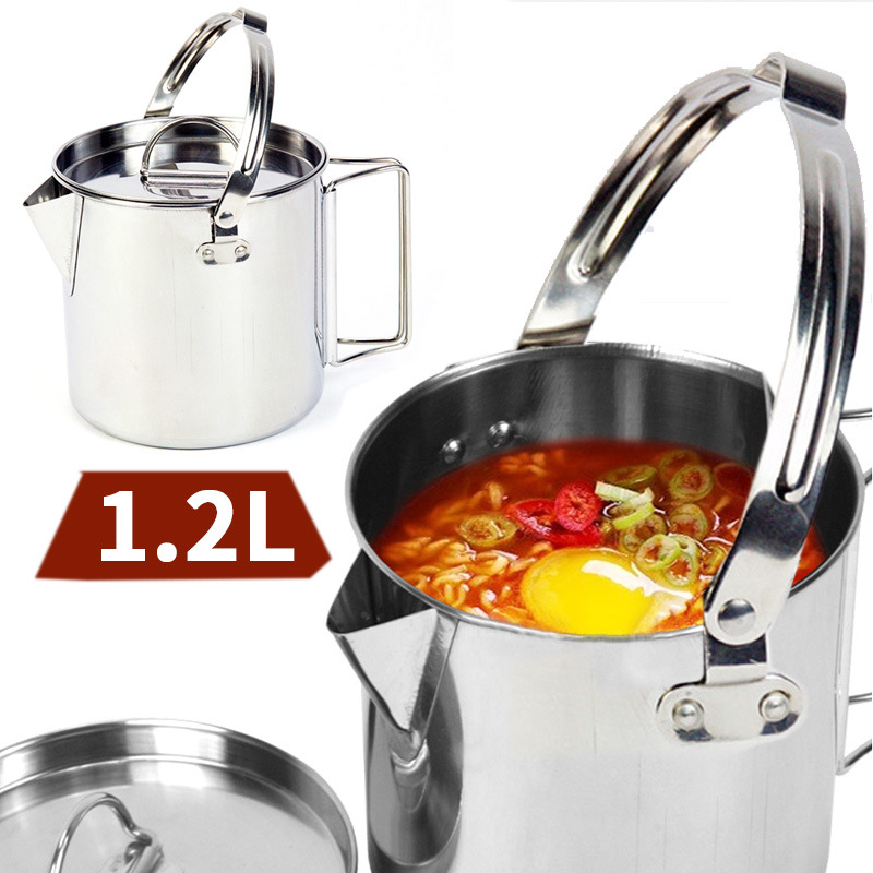 1.2L outdoor stainless steel kettles Mountaineering camping portable boil water hanging pot hot soup coffee tableware hot sale portable outdoor camping travel stainless steel hip flask