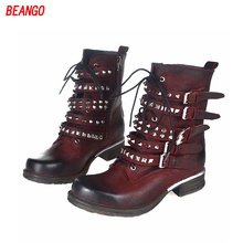 BEANGO Hot Martin Boots Women Round Toe Lace Up Rivet Thick Heels Cross Belt Buckle Motorcycle Ankle Boots Shoes Plush Size