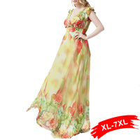 Sexy Women Plus Size Chiffon Dress Deep V Neck Butterfly Sleeve Summer Bahemian Floral Print Beach