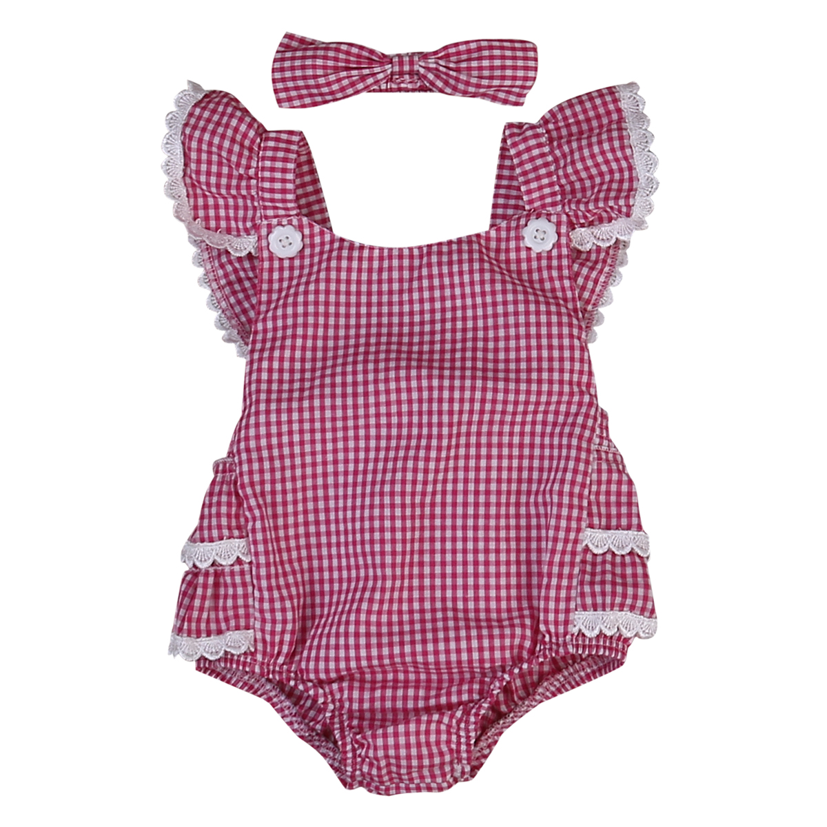 2017 Cute Newborn Baby Girl Clothes Red Plaid Ruffles Romper Skirted Baby Bodysuit +Headband 2PCS Outifts Sunsuit Clothing Set 2017 sequins mermaid newborn baby girl summer tutu skirted romper bodysuit jumpsuit headband 2pcs outfits kids clothing set