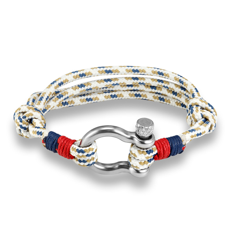 leather stainless simon carter navy brushed bracelet