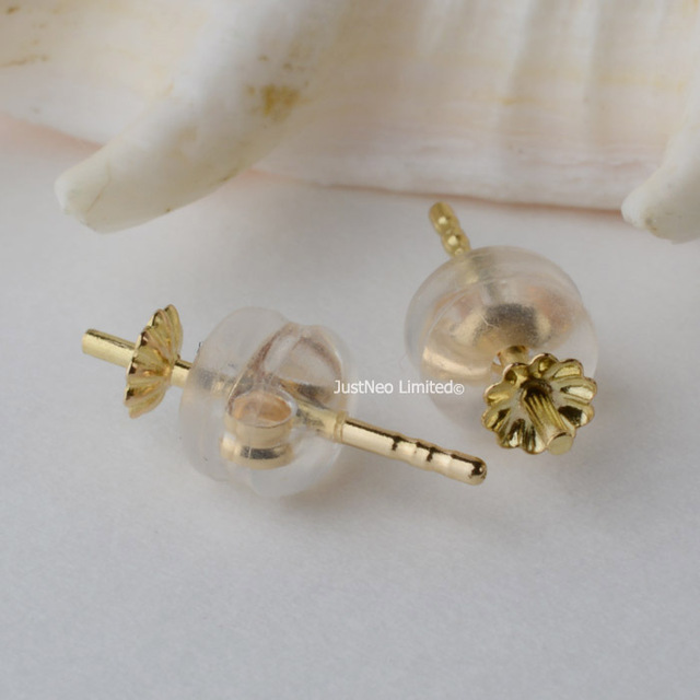 027b9c983 18k gold stud earring post and back stopper set,genuine yellow/rose karat  gold for half-drilled pearl beads jewelry DIY findings