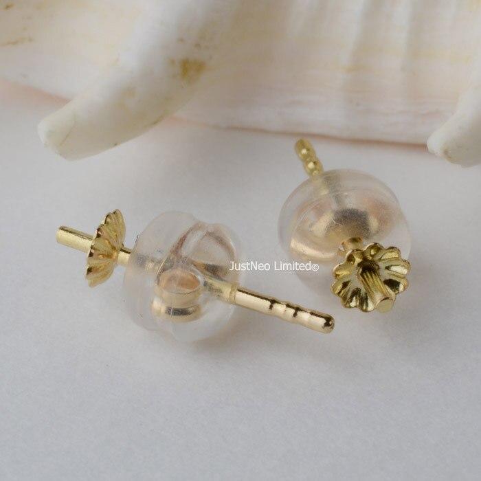 Boucles d'oreilles en or 18 k et bouchon arrière, véritable or karat jaune/rose pour perles semi-percées, résultats de bricolage