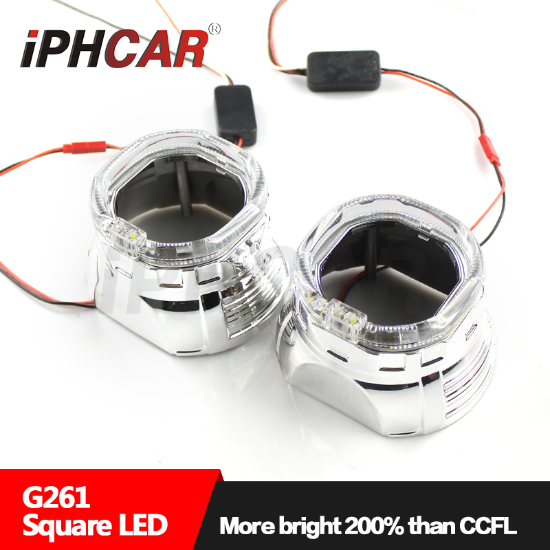 Free Shipping IPHCAR Bi-xenon Universal Hid Projector Lens Light Square LED Ring Angel Eyes Headlight for H1 Mini Projector free shipping iphcar lhd rhd auto driving front lens universal led ring angel eyes light mini projector headlight for h1 h4 h7