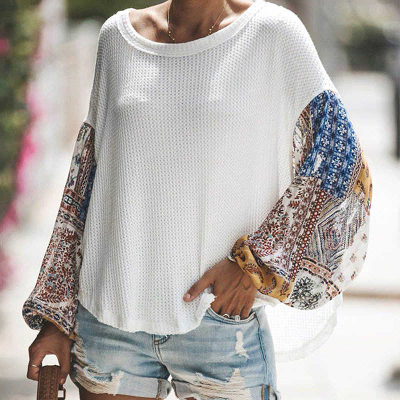 Autumn Winter Women Long Sleeve Bohemian Knit Patchwork Blouse Casual O Neck High Low Ladies Loose Tops
