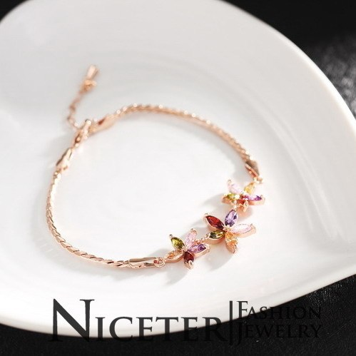 NICETER 2014 Hotsale Charm Bracelets Swiss Cubic Zircon Diamond Multicolour Bangles (N8059)For Ladies Christmas Gift Accessories