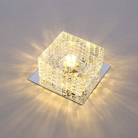 Warm White/Cool White/RGB Clear Crystal Led Ceiling Lights 3W/5W 110V/220V Recessed Aisle Porch Hallway Stair Lamp Square Shape
