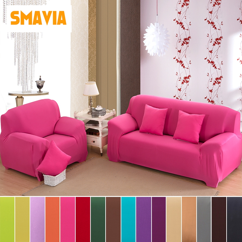 1pc Solid Color Elasticity Flexible Sofa Cover Sectional Couch