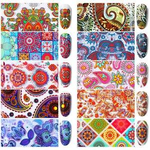 Image 3 - 10pcs 4*20cm Paisley Colorful Nail Foils Nail Art Transfer Sticker Decal Mandala Slider Decals DIY Nail Tips Decorations