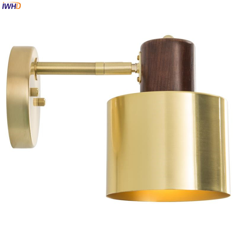 IWHD Nordic Modern LED Wall Lights Fixtures Bedroom Living Room Stair Wooden Copper Vintage Wall Lamp Bathroom Morror Light LED iwhd nordic modern led wall lamp living room fabric switch led wall light stair arandela lampara pared