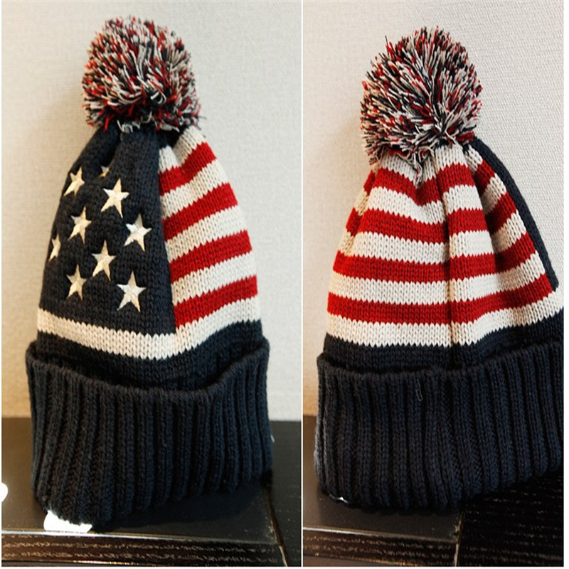 2016 New Autumn and Winter days Skullies  Knitting Wool Winter Male Ms. American flag Hat Hair Ball Hedging  M119 skullies 2017 new arrival hedging hat female autumn and winter days wool cap influx of men and women scarf scarf hat 1866729