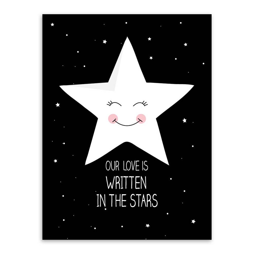 ᓂModern Black White Nordic Kawaii Star Quotes Art Print Poster Wall ...