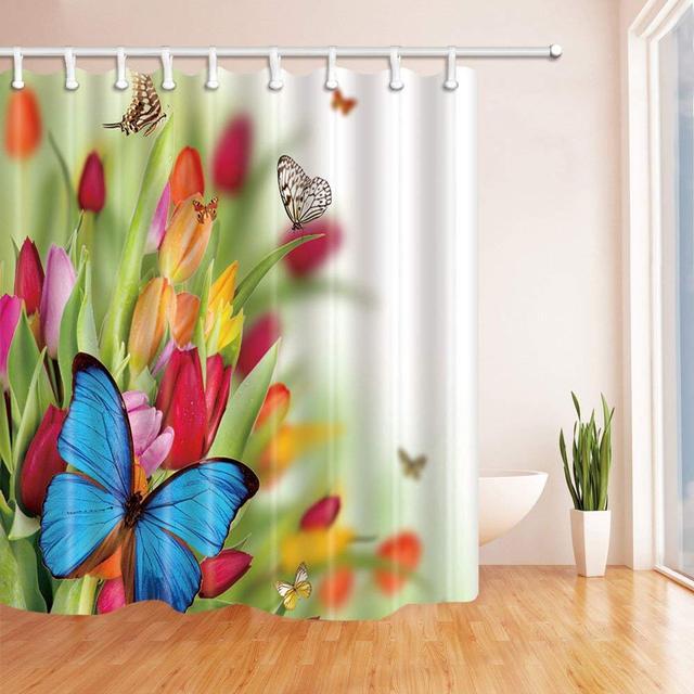 Butterfly Tulip Pattern Theme Shower Curtain Beautiful Lovely Flowers Butterflies Red Yellow Orange Purple Blue Waterproof
