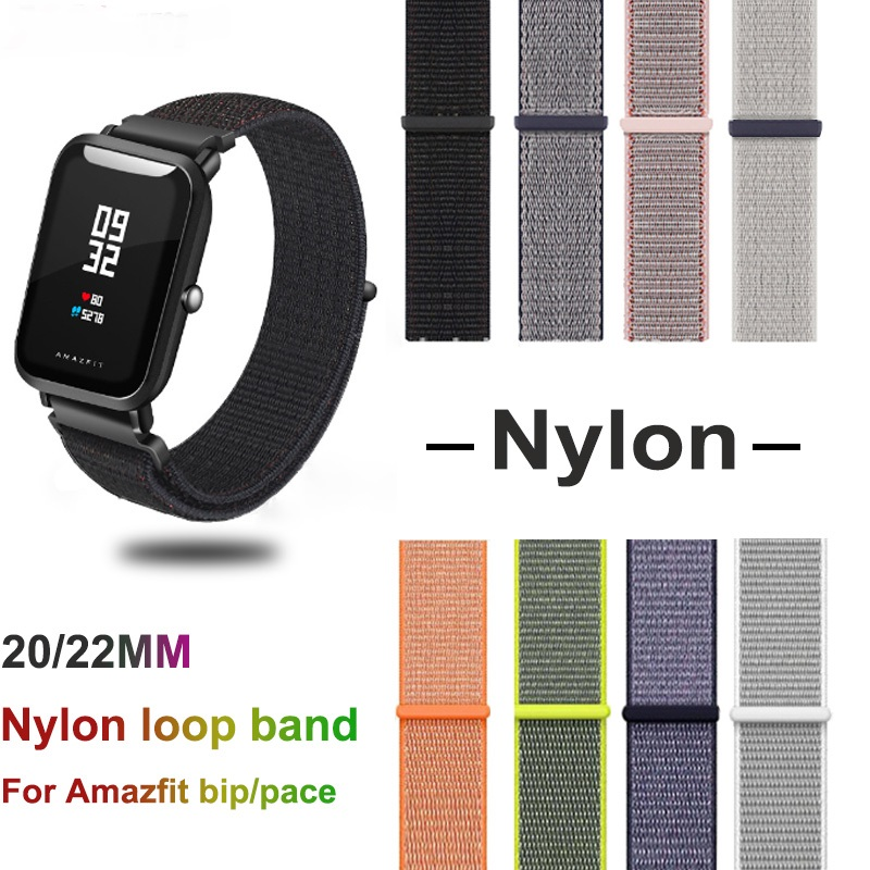 Nylon Band For Xiaomi Amazfit Bip Pace Strap Wrist Nylon Loop Velcro Strap Watch Accessories Bracelet for huawei GT band in Smart Accessories from Consumer Electronics