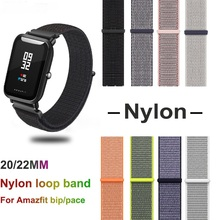 Nylon Band For Xiaomi Amazfit Bip Pace Strap Wrist Loop Velcro Watch Accessories Bracelet for huawei GT band