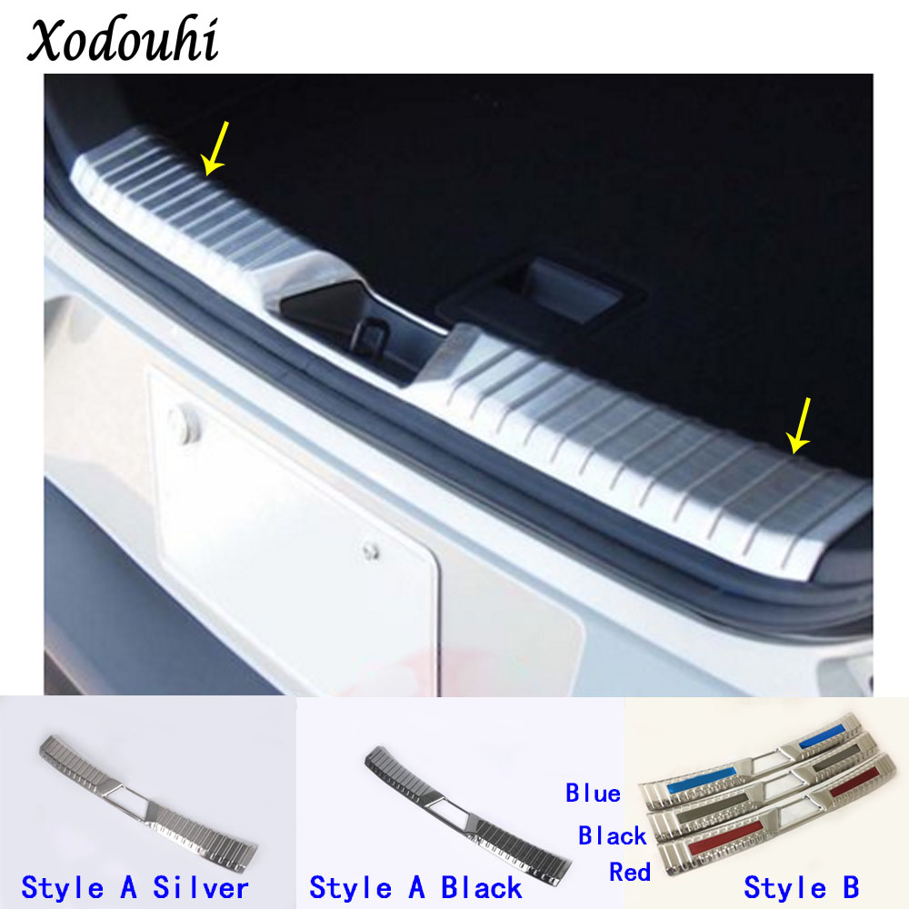 Car inner inside rear bumper panel trunk trim cover Stainless Steel plate pedal molding 1pcs For Mazda CX-3 CX3 2016 2017 2018
