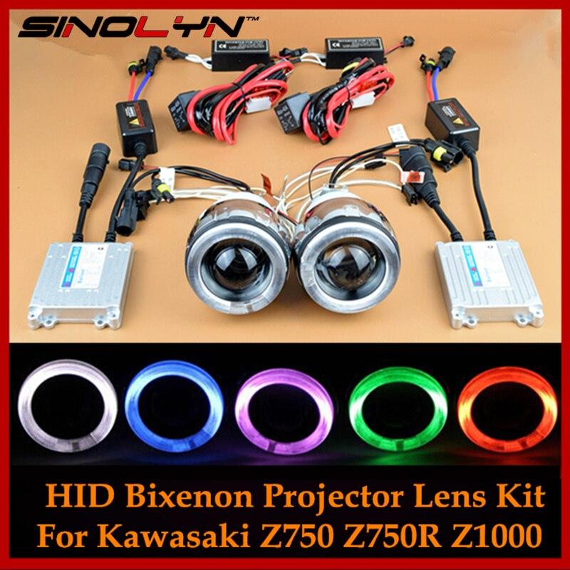 Moto Phare Pour Ninja 650 R 250 R/Kawasaki Z750 Z750R Z1000 Ange Diable Yeux Halo HID Bi xénon projecteur Lentille Lampe Kit