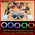 Motorcycle Headlight CCFL Angel Eye Devil Eyes Dual HID Bi xenon Projector Lens Kit For Z750 Z750R Z1000 Ninja 650 650R 250 250R